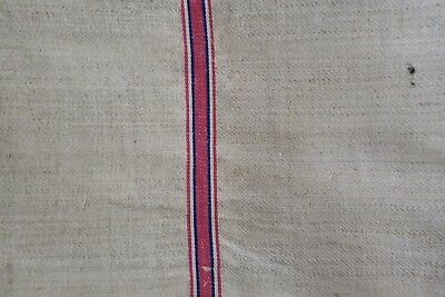 Antique European Hemp Grain Sack Lovely Rare Pink and Blue Stripes