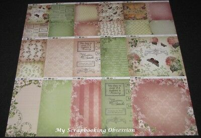 "Couture Creations 'VINTAGE ROSE GARDEN ' 12x12"" Paper 30 Sheets Floral CLEARANCE"