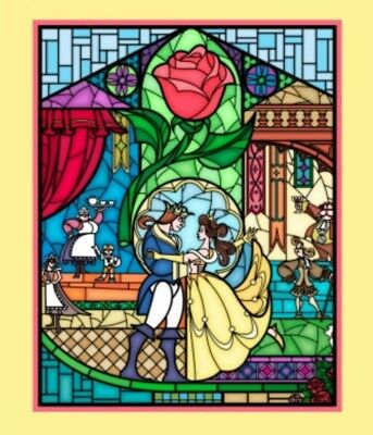 Disney * Beauty And The Beast Stained Glass Quilt Panel  * New * Free Post *