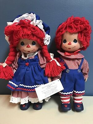 """Raggedy Ann And Andy Precious Moments Doll You're My True Blue Friend 12"""" 2008"""