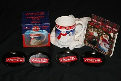 Lot Coca-Cola Coke Polar Bear Coffee Mug, Ltd Edition Playing Cards & Coasters