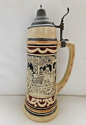Antique German Beer Stein 1.5 Liter Pewter Lid
