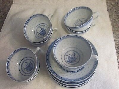 Beautiful Vintage Porcelain Chinese Cups and Saucers Made in China with Markings