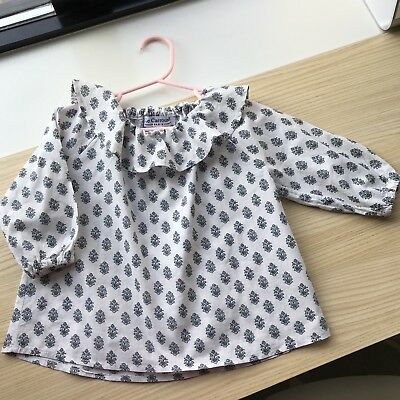 French Label Le Carrousel Baby Girl Collar Blouse Made In France 18m 18/24