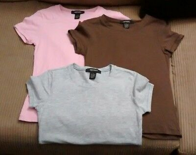 Lot of (3) Maternity T-shirts Short Sleeve, Small Gray Pink Brown