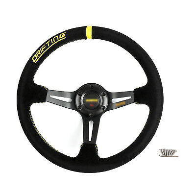 350mm Nubuck Leather Blk 6-Bolt Car Racing Steering Wheel with Horn Button C AU