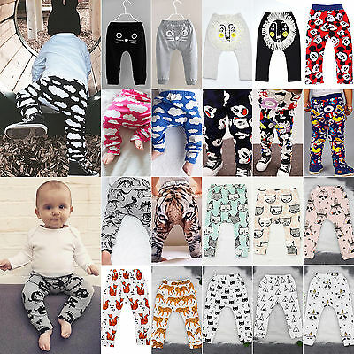 Baby Kids Boys Girls Cartoon Baggy Harem Pants Toddler Bottom Trousers Leggings