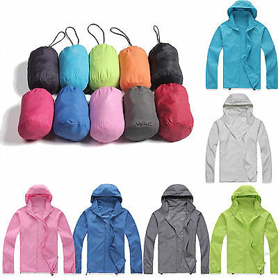 Waterproof Windproof Jacket Mens Womens Lightweight Rain Coat Outdoor Travel Top