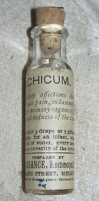 Antique Martin & Pleasance Medicine Bottle & Tablets Homeopathic Chemist Melb