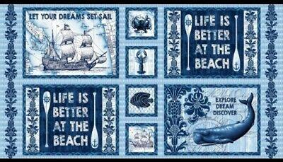 Indigo Coastal Quilt Panel * Ocean Dreams * New * Free Post *