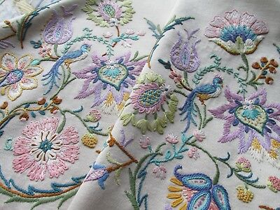 Vintage Hand Embroidered Table Runner-FABULOUS JACOBEAN STYLE CREWEL WORK