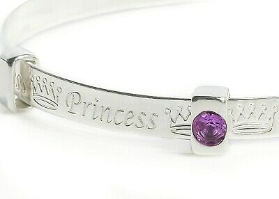 925 Solid Silver Baby Bracelet Princess Birthstone Bangle Children Kids Gift