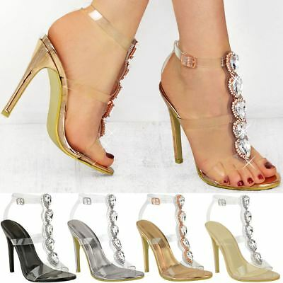 daa71b96a74 New Womens Ladies Perspex High Heel Jewel Stiletto Sandals Strappy Shoes  Size