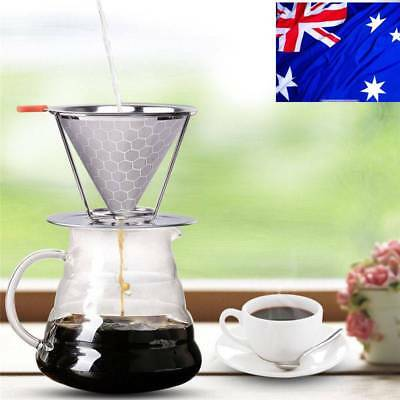 AU!! Stainless Steel Pour Over Cone Coffee Dripper 2 Layer Mesh Reusable Filter