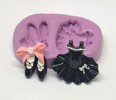 BALLERINA DRESS AND SHOES TUTU Silicone Moulds cake decorating toppers icing
