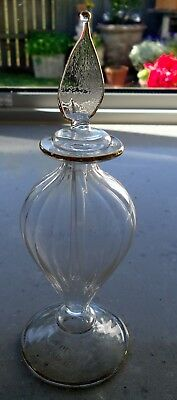 Bonnae Art Glass Clear Glass With Gold Trim Perfume Bottle.