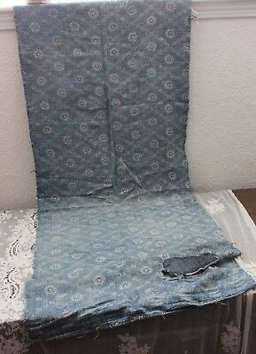 """French Antique 18thC Indigo Faded Resist Dyed Heavy Linen Fabric~1 yd 35""""LX27""""W"""