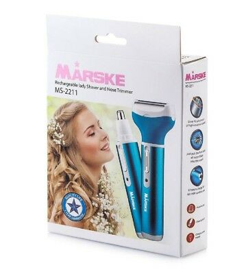 3 in 1 Rechargeable Lady Shaver+Nose, Ear, Eyebrow, Bikini Trimmer, Blue