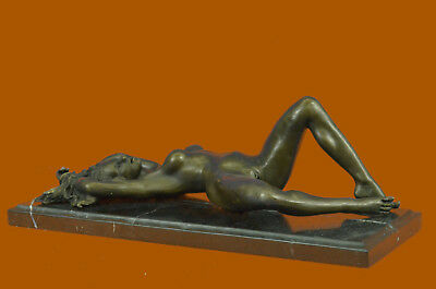 Bronze Sculpture Nude Naked Female on her Back Masterpiece Marble Figurine Decor