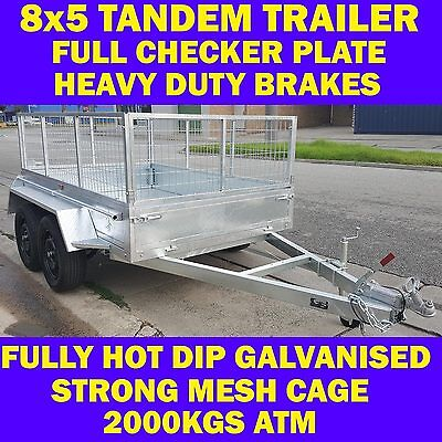8x5 galvanised trailer tandem trailer with cage heavy duty