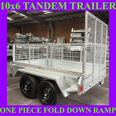 10x6 galvanised tandem trailer with mesh cage and ramp 2000kgs atm also got 10x5