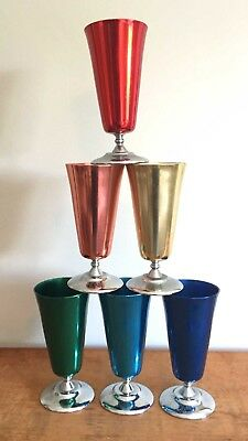 SET of 6 VINTAGE PEACOCK WARE ANODISED ALUMINIUM GOBLETS, Harlequin Colours, GC!