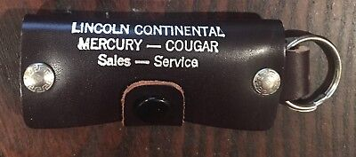 """1960S Lincoln Continental Mercury Cougar Leather Key Holder 3"""" NOS"""