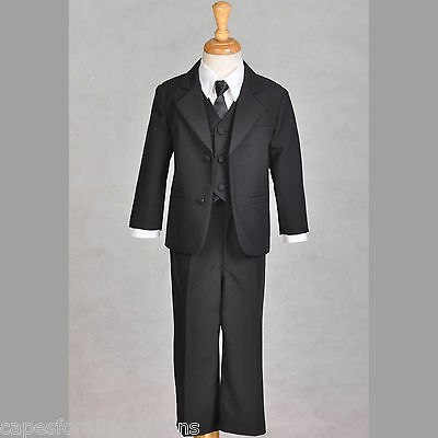 Boy Teen Tuxedo Suit 5Pcs. Set Black Formal 6M 2 3 4 5 6 7 8 9 10 12 14 16 18 20