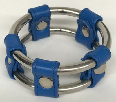 Plain Tube Steel Double Cock Ring Blue 40mm Hell's Couture
