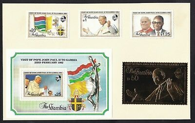 Gambia 1992 Pope Visit - lightly hinged on card  (N40)