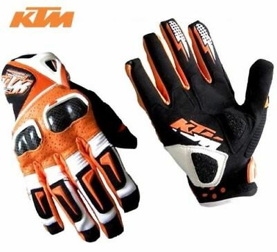 Armour Protected Short Cuff Full Finger Orange KTM Leather Motorcycle Gloves New