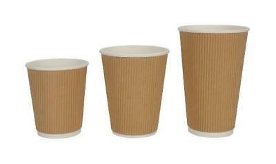 4/8/12/16oz Insulated Ripple Disposable Paper Coffee Cups,Lids , UK SELLER
