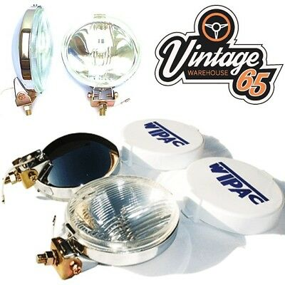 Classic Car Genuine Wipac New Front Chrome Spot Lights Driving Lamps + Covers
