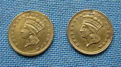 *(2) 1800's $1.00 INDIAN PRINCESS GOLD COINS MADE INTO JEWELRY - ESTATE FRESH*