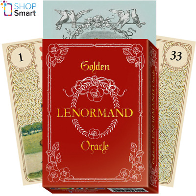 Golden Lenormand Oracle Cards Deck Gold Foil Telling Lo Scarabeo New