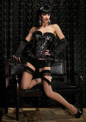 Zipper Front Satin Corset Leg Avenue
