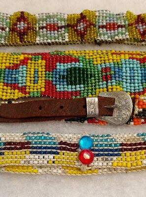 Vintage Native American Beaded Hat Bands, Lot of 4