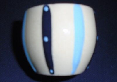 VINTAGE 1950s HORNSEA POTTERY EGG CUP YELLOW WITH BLACK TURQUOISE STRIPES DOTS