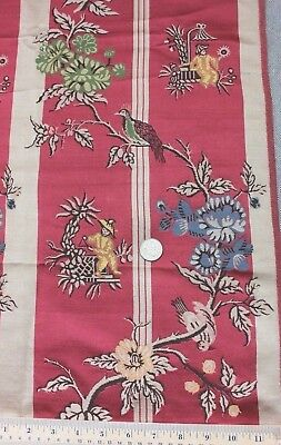 """Antique 19thC French Silk Chinoiserie Brocade Fabric Sample~33""""LX21""""W"""