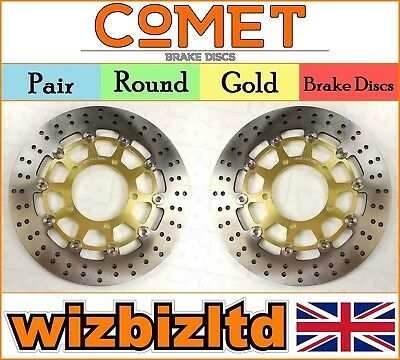 COMET Pair of Gold Round Front Brake Discs Suzuki GSXR 1000 K7/K8 07-08 R907GD2