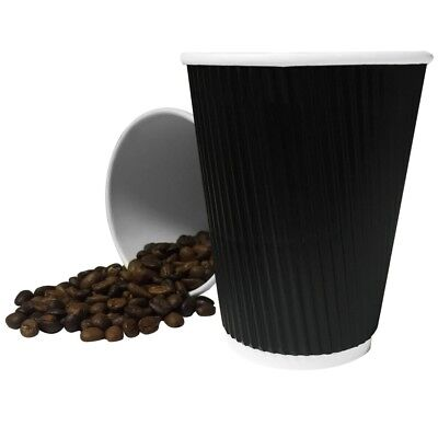 8 /12/16oz BLACK Ripple Disposable Insulated Paper Coffee Cups,Lids  UK SELLER