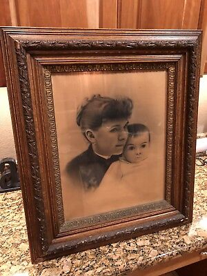 19th Century Art of a Mother and Child Antique on a Solid Wooden Frame