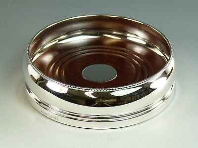 "NEW - Solid Silver - Wine Bottle Beaded Rim COASTER - 5"" - Boxed"