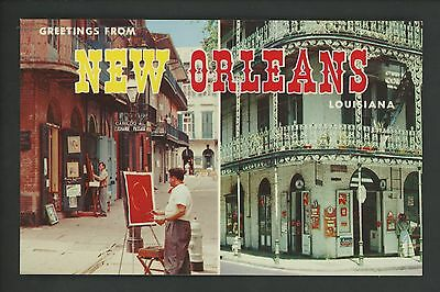 Greetings from new orleans louisiana postcard 200 picclick postcard greetings from louisiana la new orleans french quarter artist chrome m4hsunfo