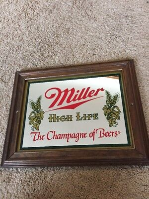 """Vintage Miller High Life The Champagne of Beers Man Cave Beer Mirror 11""""x15"""""""