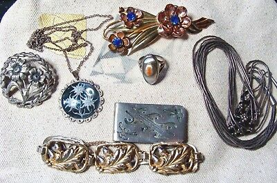 Antique Vintage Victorian Art Deco Navajo 91 Grams Sterling Silver Jewelry Lot