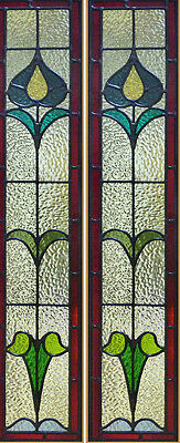 "Art Nouveau Stained glass window/ sidelight panels 10 "" x 50"" We make all sizes"
