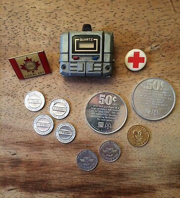 Retro 1980's Transformer Watch, Coins Tokens & Union Pins - Lot