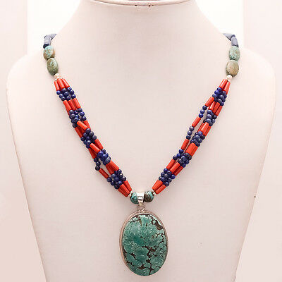 925 Sterling Silver Iran Persian Turquoise Antique Vintage Old Bohemian Necklace