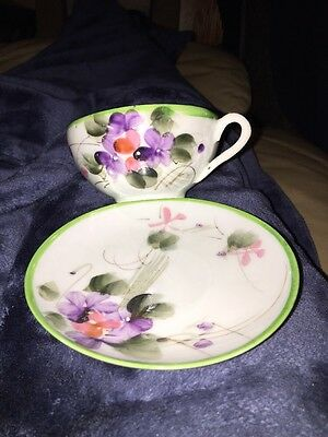 Delicate Hand Painted Floral Design Coffee/tea Cup With Saucer Made In Japan